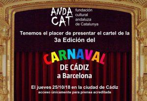 ANDACAT ORGANIZA: Presentación del cartel del 3er Carnaval de Cádiz en Barcelona @ Ciudad de Cádiz