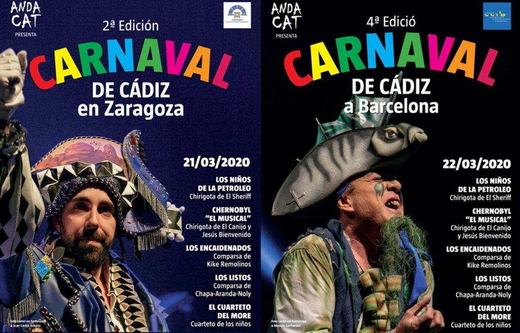 Carteles Carnaval de Cádiz en Barcelona y en Zaragoza 2020 - Fundación Andacat