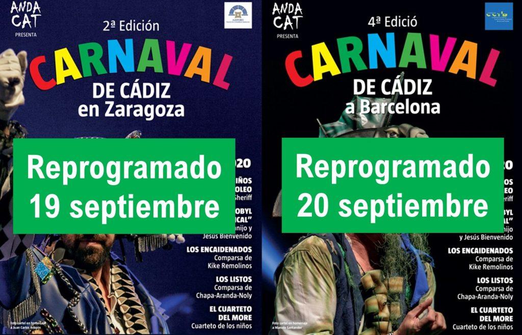 Reprogramación gira Carnaval de Cádiz en Barcelona y en Zaragoza